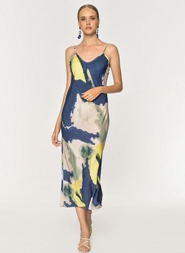 Loves You Askılı Renk Efektli Viskon Elbise Mavi